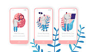 Hospital Neurology Department Mobile App Page Onboard Screen Set. Intensive Caring, Discovery and Extraordinary Care. Clinical Pathology Test Website or Web Page. Flat Cartoon Vector Illustration