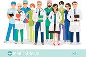 Hospital or medical staff cartoon characters