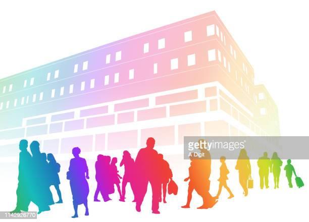 hospital outside crowd rainbow - crowd stock illustrations