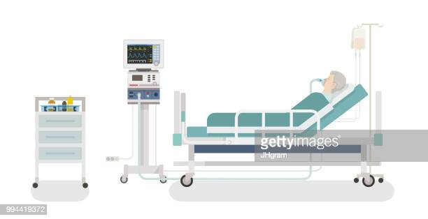 hospital room - ventilator stock illustrations
