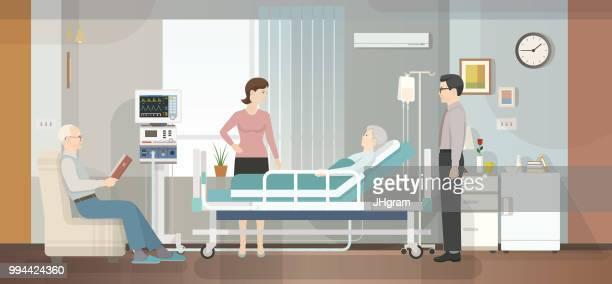 illustrations, cliparts, dessins animés et icônes de hôpital chambre - maison de retraite