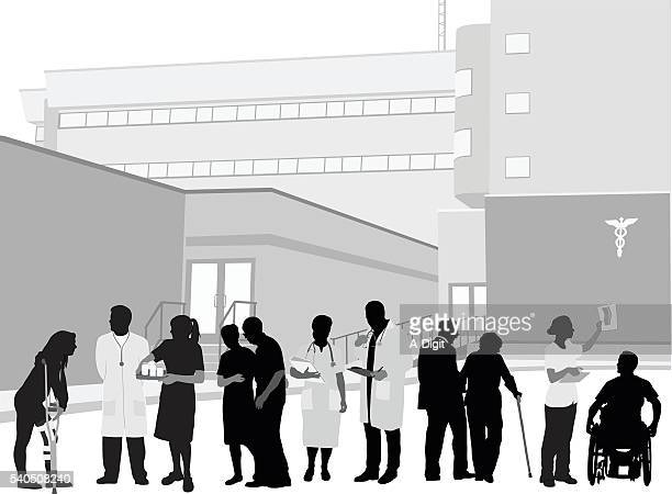 hospital staff and patients - young women stock illustrations