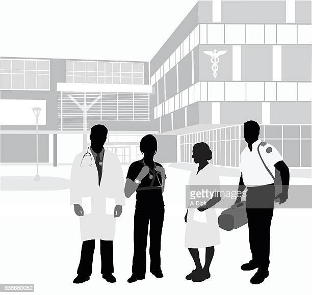 ilustrações, clipart, desenhos animados e ícones de hospital staff colleagues - serviço de emergência e resgate