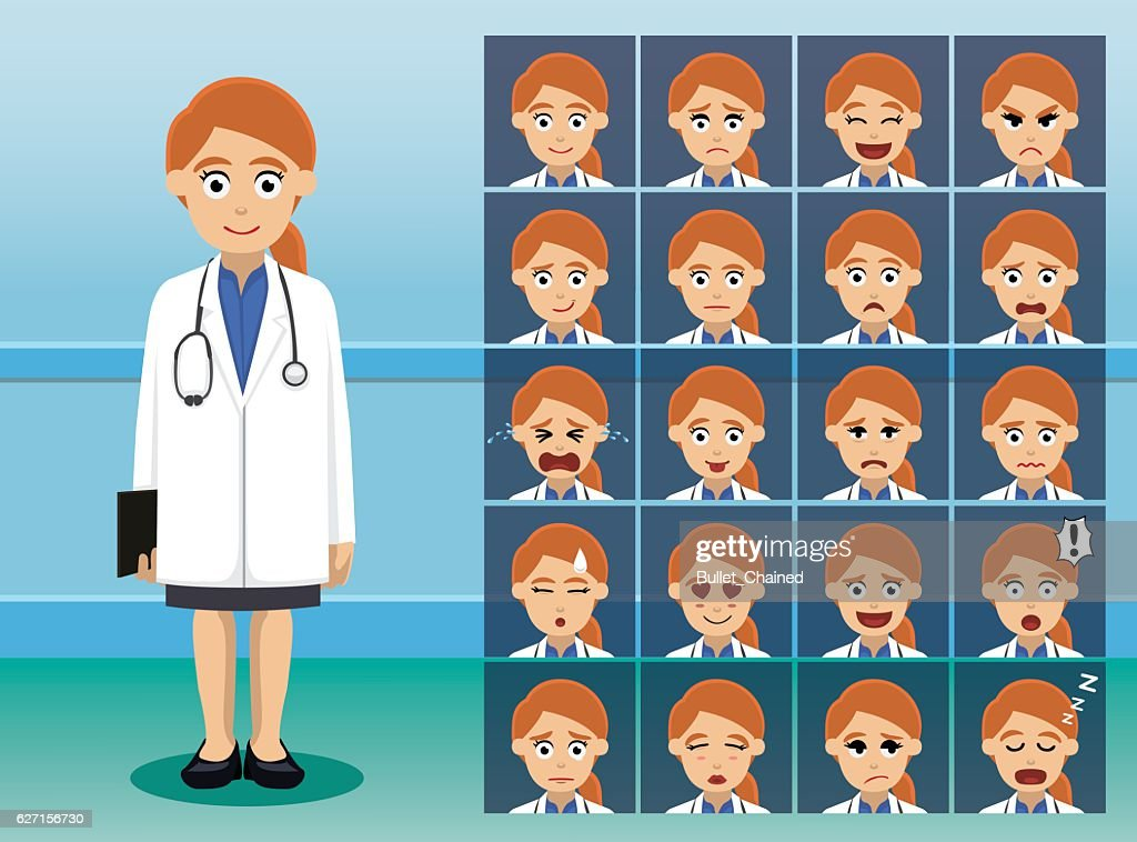Hospital Staff Pretty Doctor Cartoon Character Emotion Faces Vector