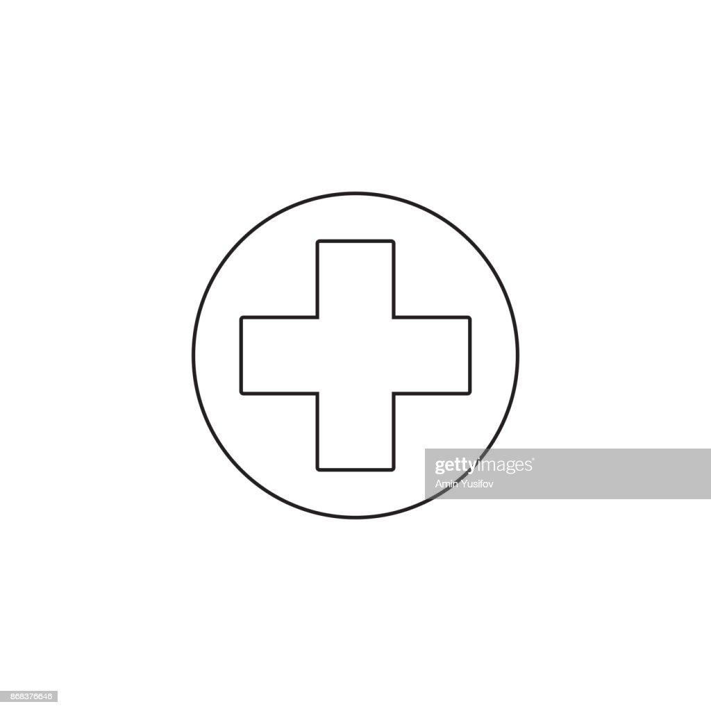 Hospital Symbol Line Icon Cross Outline Vector Logo Linear Pic