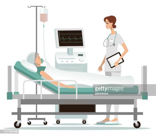 ilustrações de stock, clip art, desenhos animados e ícones de hospital - cama