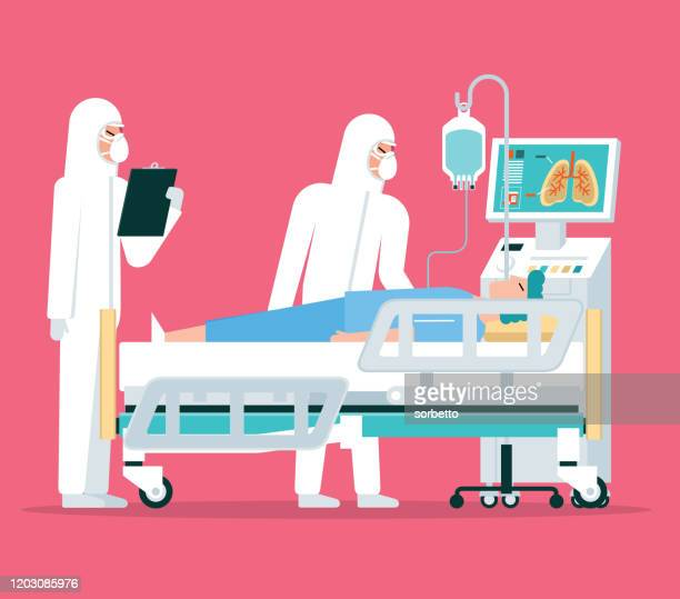 ilustraciones, imágenes clip art, dibujos animados e iconos de stock de hospital - arma biológica