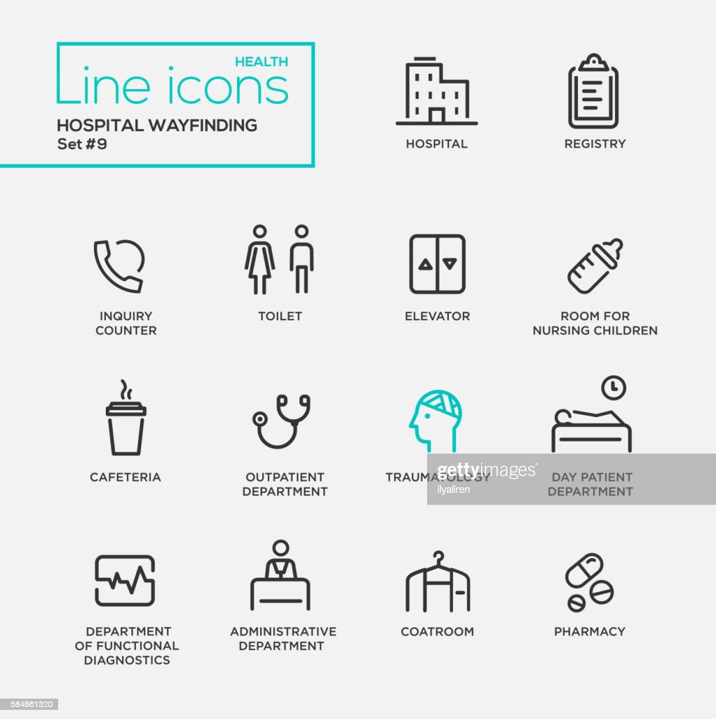 Hospital wayfindings - line design pictograms set