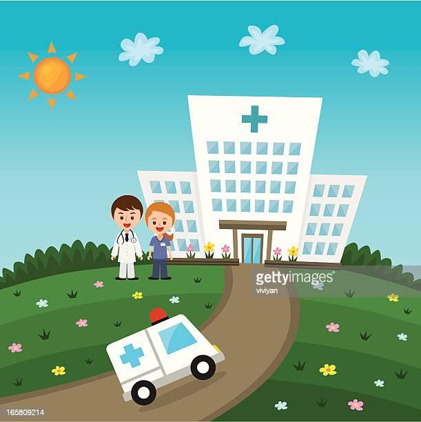 hospital com médicos