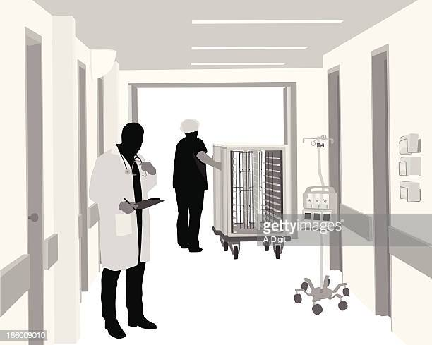 hospital workers - corridor stock illustrations, clip art, cartoons, & icons
