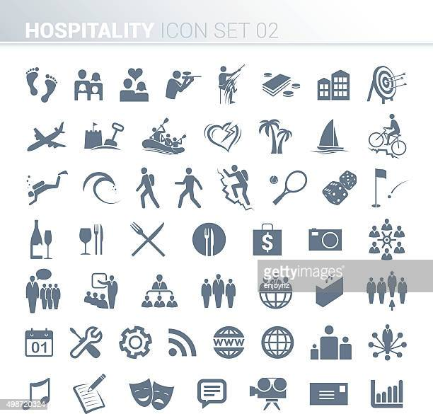 hospitality activity icons - recreational pursuit stock illustrations, clip art, cartoons, & icons