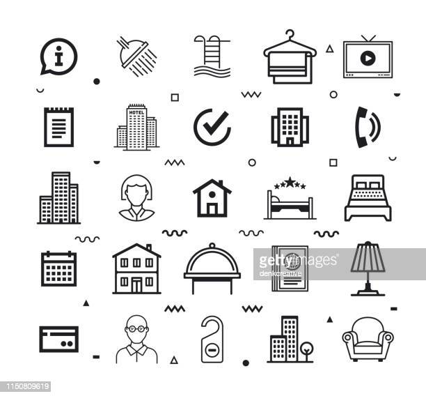 Hospitality Customer Experience Line Style Vector Icon Set