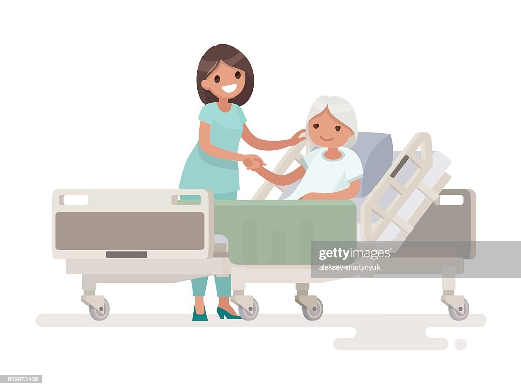 Hospitalization of the patient. A nurse taking care