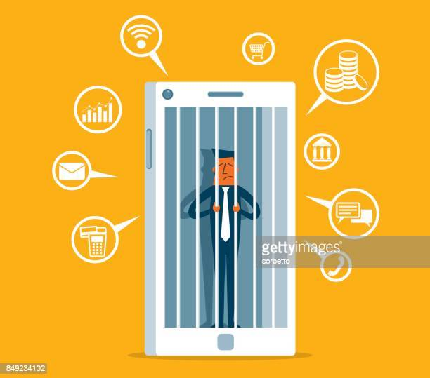 hostage of modern technologies - businessman - addiction stock illustrations, clip art, cartoons, & icons