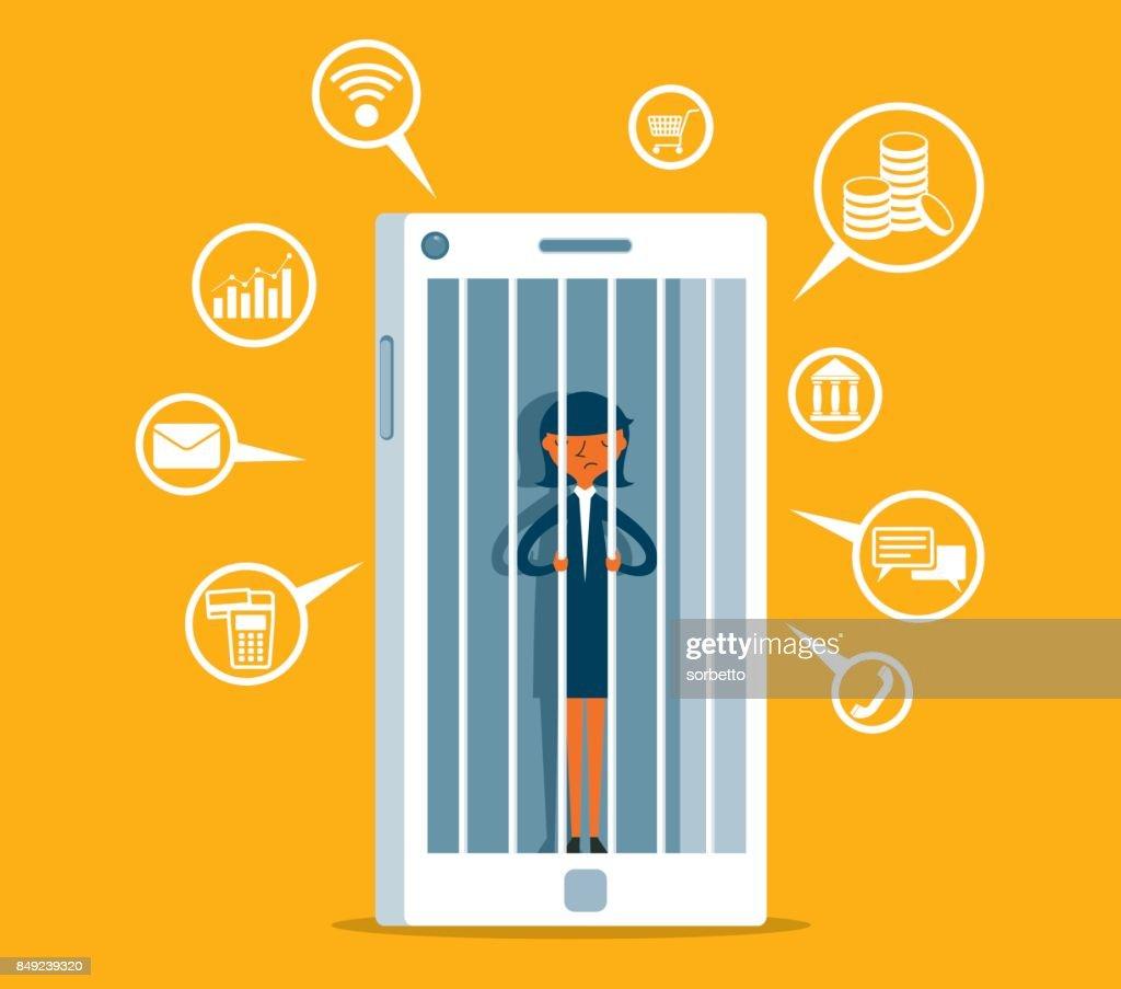 Hostage of modern technologies - Businesswoman