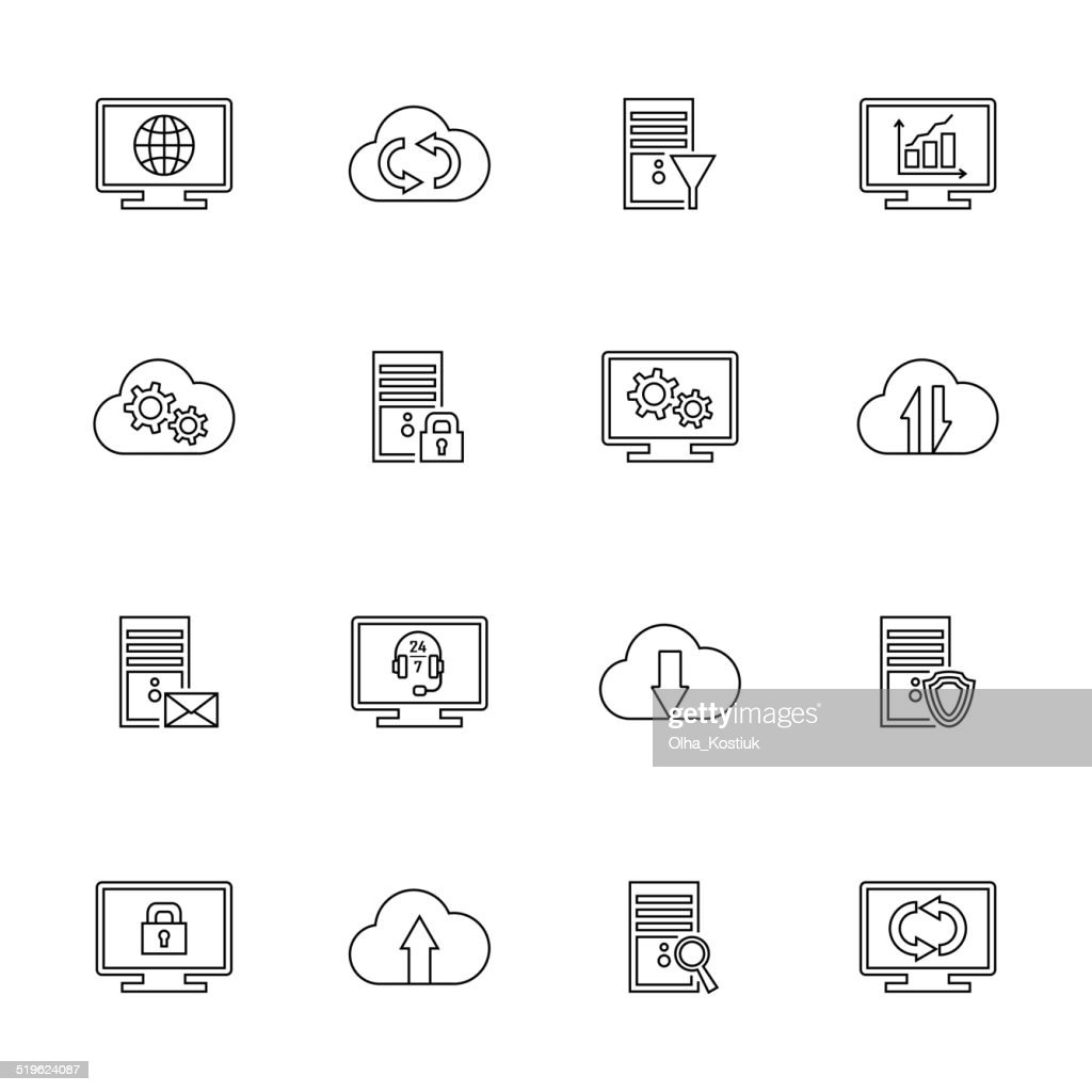 Hosting, network and cloud computing icons.
