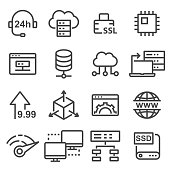 Hosting vector icon, database symbol.