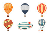 Hot air balloon and airship vector icons set. Summer ballooning adventure cartoon hotair travel.