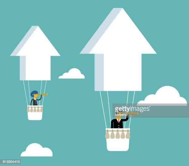 stockillustraties, clipart, cartoons en iconen met hete luchtballon - pijlsymbool - chance