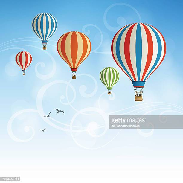 hot air balloon background - balloon ride stock illustrations