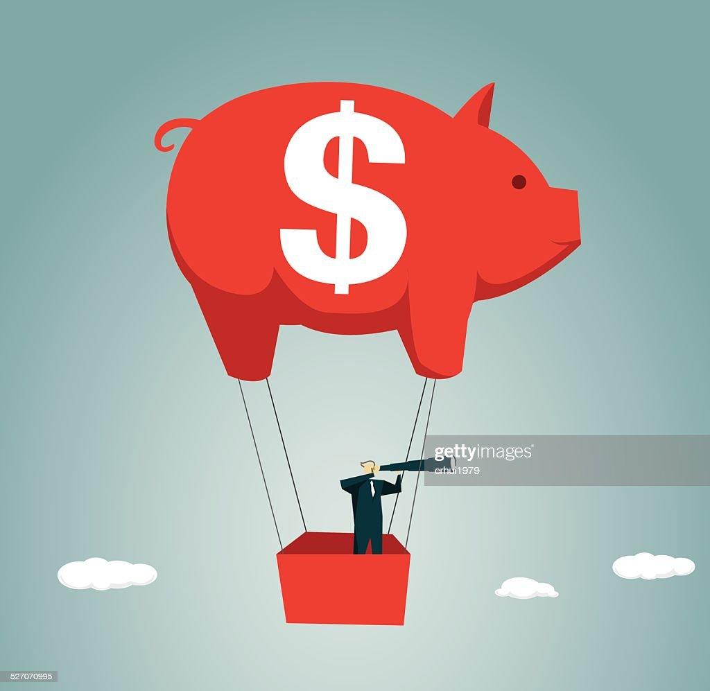 Hot Air Balloon, Direction, Looking,  Challenge,Piggy Bank, Piggy
