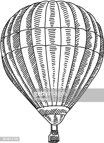 hot air balloon drawing vector art getty images
