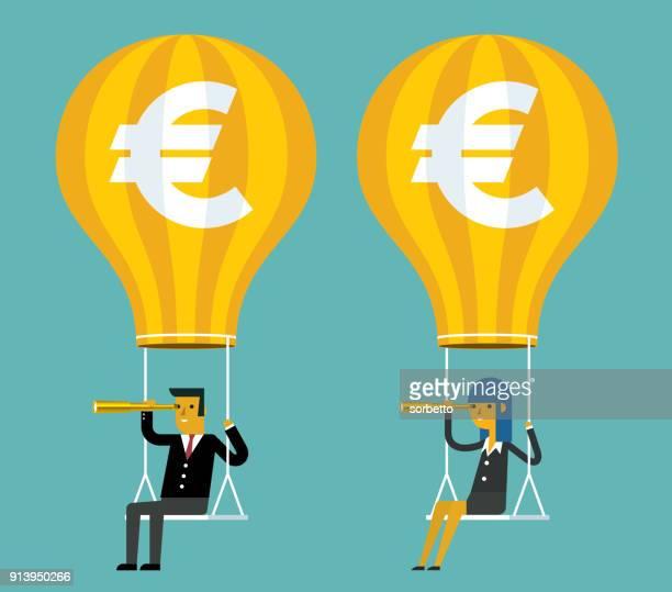 ilustraciones, imágenes clip art, dibujos animados e iconos de stock de globo de aire caliente - euro - proyección
