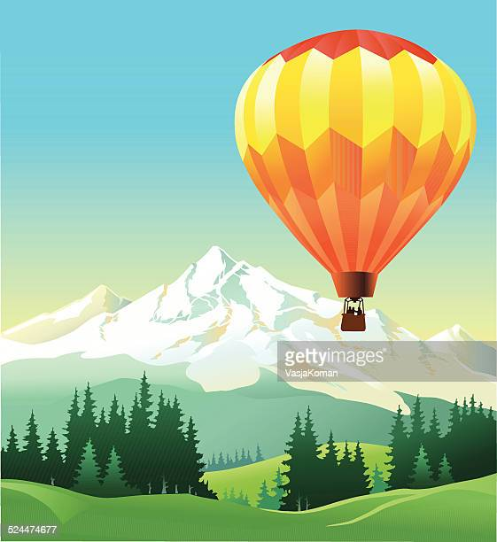 hot air balloon flying over the mountain - balloon ride stock illustrations