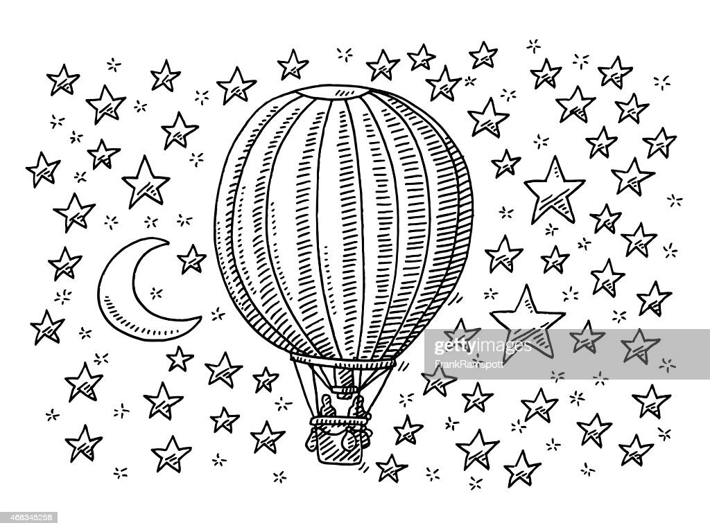 Hot Air Balloon Flying To The Moon And Stars Drawing : Stock Illustration