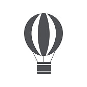 Hot air balloon icon. Modern minimal flat design icon. Vector illustration.