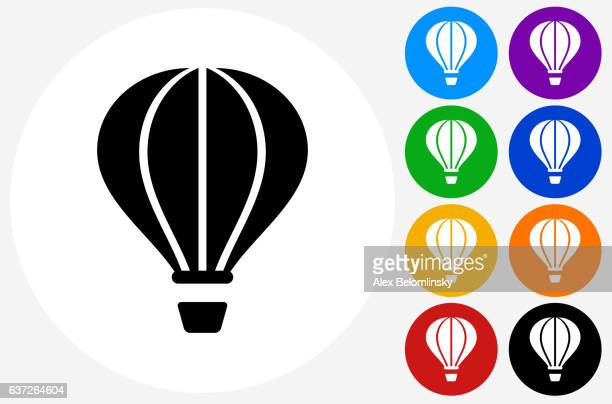 hot air balloon icon on flat color circle buttons - hot air balloon stock illustrations, clip art, cartoons, & icons
