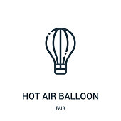 hot air balloon icon vector from fair collection. Thin line hot air balloon outline icon vector illustration. Linear symbol for use on web and mobile apps, logo, print media.