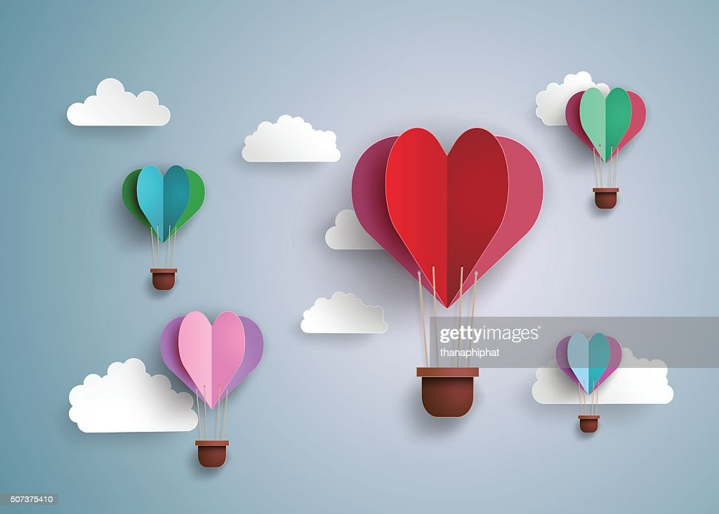 hot air balloon in a heart shape.