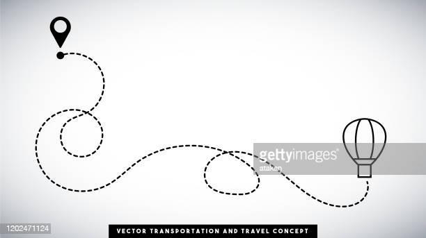 hot air balloon line path vector design. transportation and travel concept. - single lane road stock illustrations