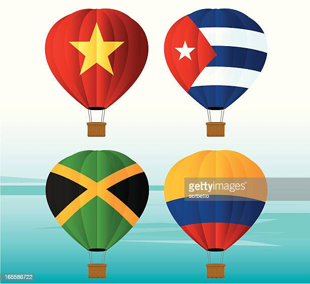hot air balloon national flag - cuban culture stock illustrations, clip art, cartoons, & icons