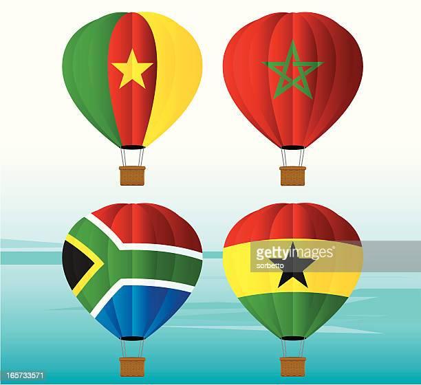 hot air balloon national flag - ghana stock illustrations, clip art, cartoons, & icons