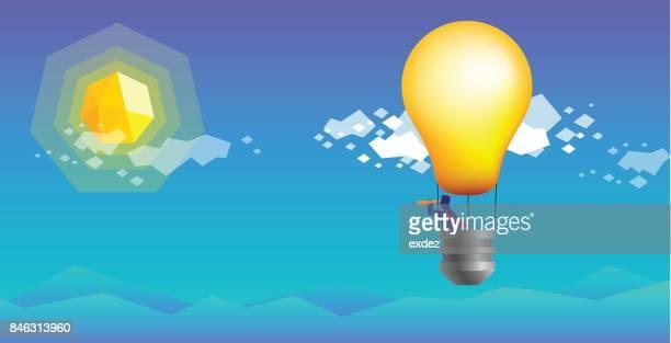 Hot air balloon of idea