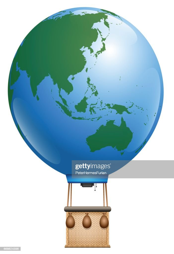 Hot air balloon - planet earth, asia and australia and pacific ocean - symbol for round the world cruise or other global flying tourism issues - isolated vector illustration on white background.