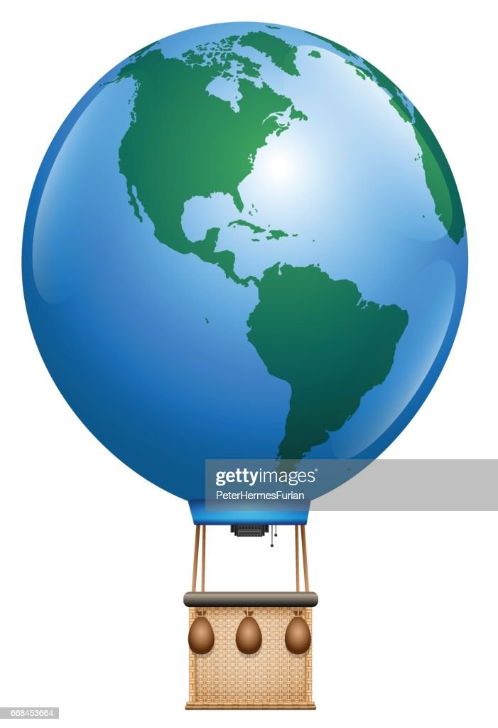 Hot air balloon - planet earth with basket - symbol for round the world trip or other global aviation issues - isolated vector illustration on white background.