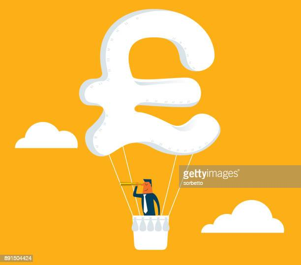 hot air balloon - pound sign - high up stock illustrations, clip art, cartoons, & icons