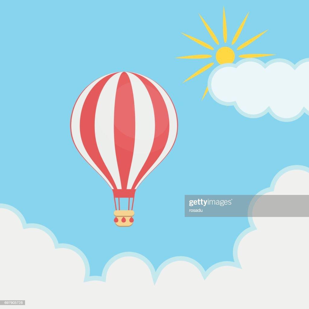 Hot air balloon, sky, clouds, sun