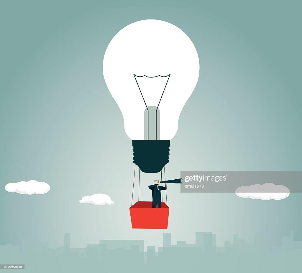 Hot Air Balloon, Strategy,Solution, Light Bulb, Lamp,Flying,  Adventure