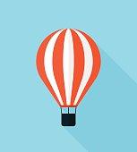 Hot air balloon vector icon, modern minimal flat design style