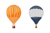 Hot air balloon vector icons set. Summer ballooning adventure cartoon hotair travel.