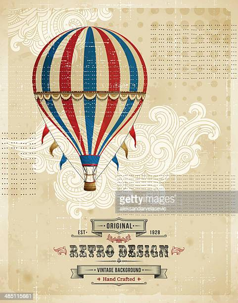 hot air balloon vintage background - balloon ride stock illustrations