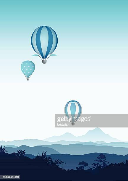hot air balloons - blue mountains - hot air balloon stock illustrations, clip art, cartoons, & icons