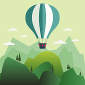 Hot air balloons flying over beautiful mountain landscape. Nature, camping, travel, vacation and holiday vector concept