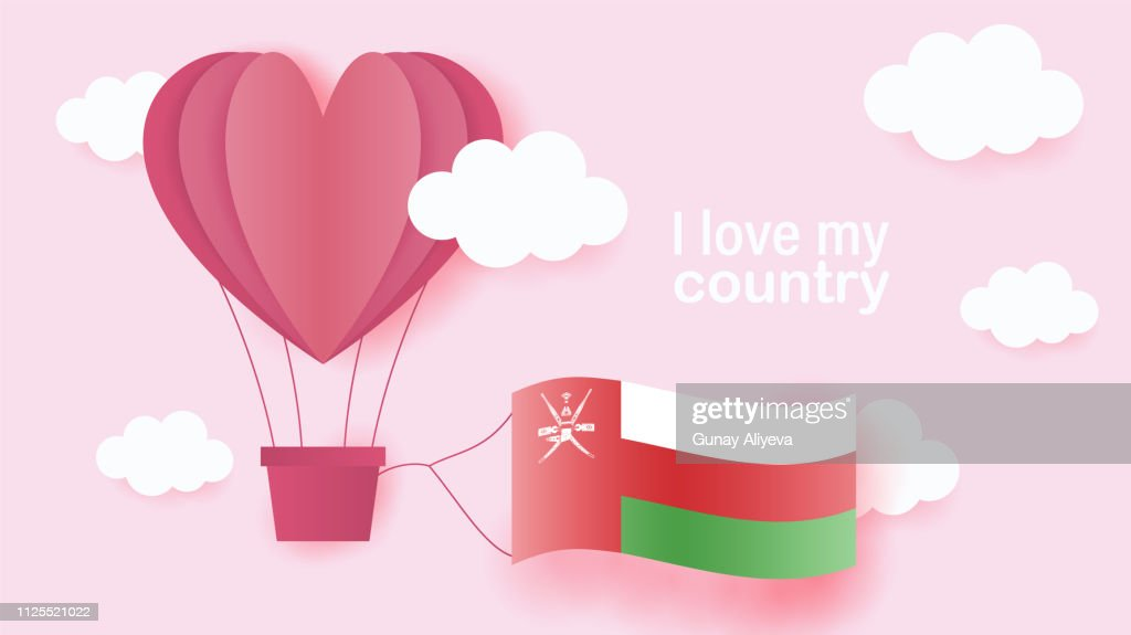 Hot air balloons in shape of heart flying in clouds with national flag of Oman. Paper art and cut, origami style with love to Oman