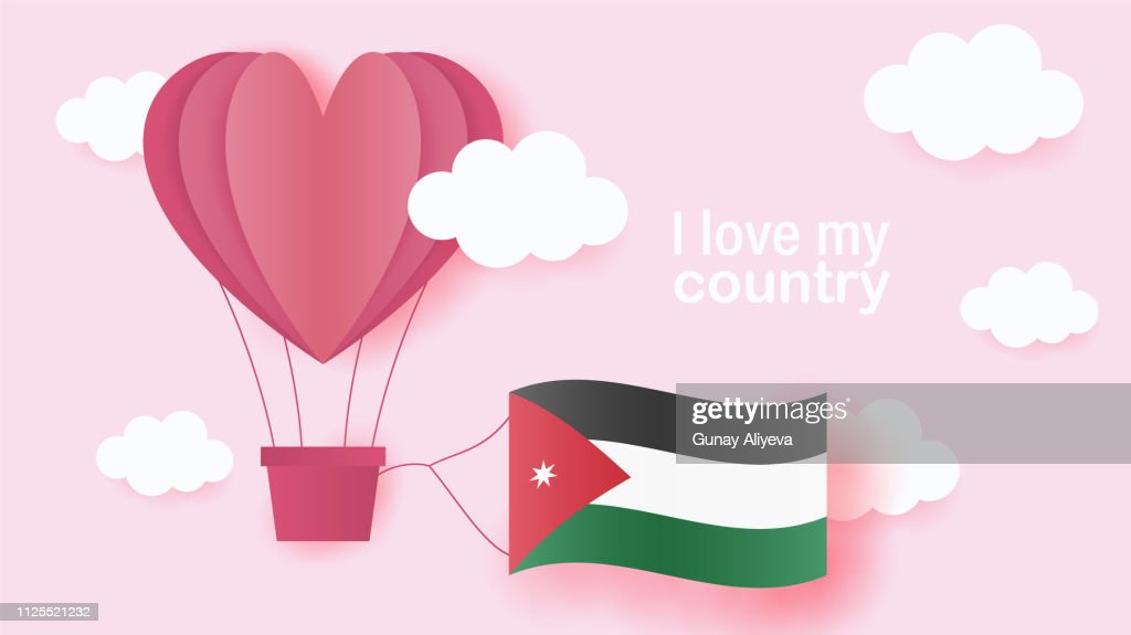 Hot air balloons in shape of heart flying in clouds with national flag of Jordan. Paper art and cut, origami style with love to Jordan