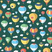 Hot Air Balloons - Seamless Pattern